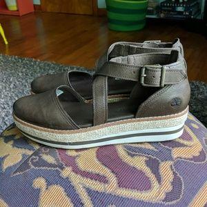 Timberland leather platform espadrille sandal 8.5